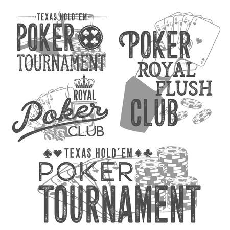 Vintage set of poker designs for print on T-shirts