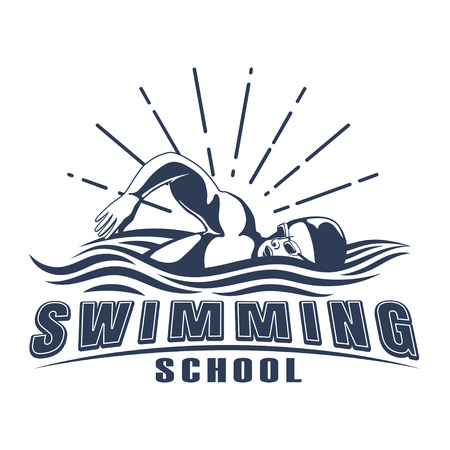 Design swimming badge for print on T-shirts, printed products and publications on the Internet. Vector illustration