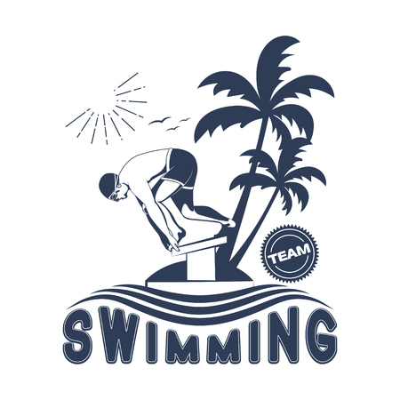 Design swimming badge for printed products and publications Vettoriali