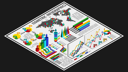 Isometric 3D style infographics with data icons, world map charts and design elements. Vector illustration.