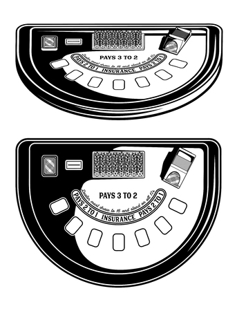 Monochrome image of a table for blackjack. Vector illustration