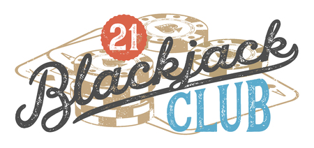 Blackjack vintage design for print on T-shirts, printed products and publications on the Internet. Vector illustration