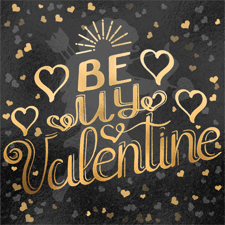 Festive greeting card for Valentines Day with hand-lettering foil effect in different shades. Vector illustration.