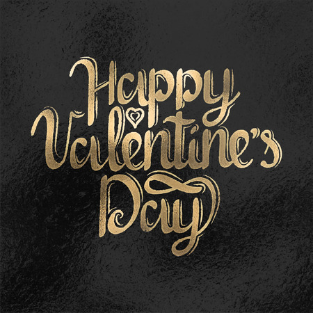Happy Valentines Day lettering text foil style vector illustration. Happy Valentines Day card design. Иллюстрация