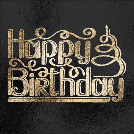 Happy birthday lettering textfoil style vector illustration. Birthday greeting card design.