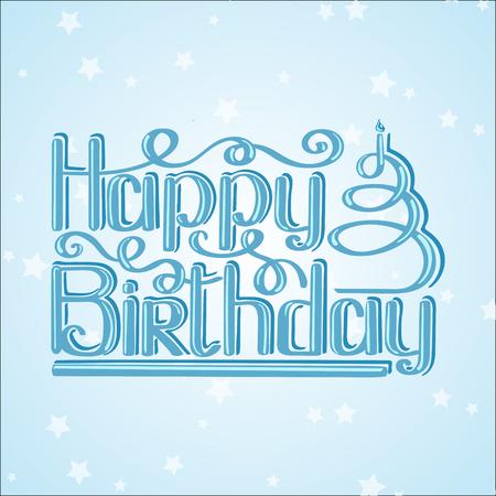 Happy birthday lettering text vector illustration. Birthday greeting card design.