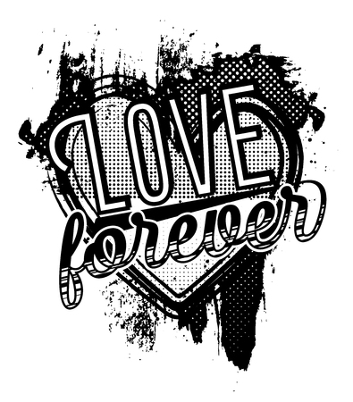 A grunge style poster about love for postcard design, t-shirt or any other use. Halftone effect, paint effect. Monochrome Vector Illustration