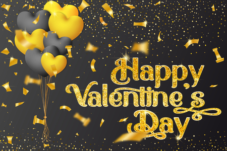 Vector Valentines Day greeting card design with balls, golden candy, glitter gold textured and gold lettering. - Vector Иллюстрация