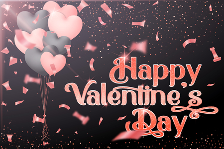 Vector Valentines Day greeting card design with balls, pink candy, glitter pink textured and pink lettering. - Vector Иллюстрация