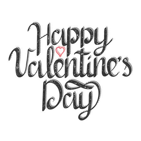 Happy Valentines Day vintage lettering text vector illustration. Birthday greeting card design. Иллюстрация