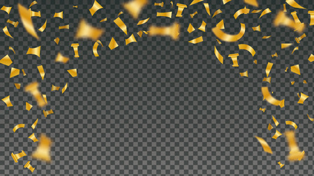 Confetti explosion background. Shiny gold flying tinsel for decoration design. Blurred tiny paper pieces. Vector illustration on transparent backdrop