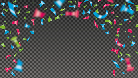 Confetti explosion background. Shiny color flying tinsel for decoration design. Blurred tiny paper pieces. Vector illustration on transparent backdrop