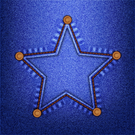 seam: Star in a seam with buttons on denim  Vector illustration