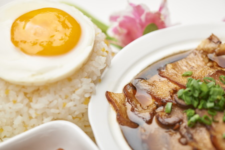poached: Poached Egg with Rice with Stewed Pork Stock Photo