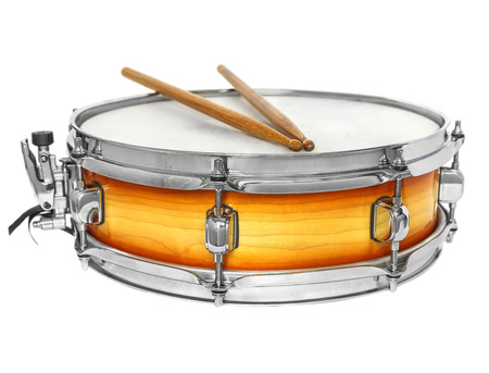 snare: Sunburst snare drum with drumsticks