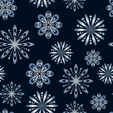 winter stylized: Seamless pattern with stylized snowflakes. Endless winter texture. Winter wallpaper.