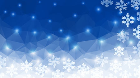 starlight: Polygon winter background. Stylized snowflakes and starlight Illustration