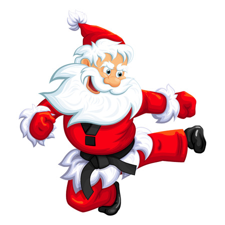 Santa Claus jumping kick in Martial arts and Kickboxing. Vector EPS-10 Çizim