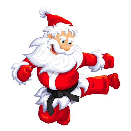 Santa Claus jumping kick in Martial arts and Kickboxing. Vector EPS-10 Ilustração