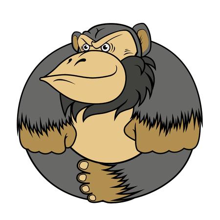 the gorilla monkey, stylized as a circle, sits cross-legged. Vector EPS-10