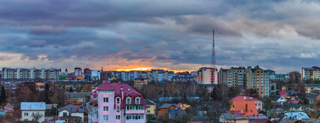 sunrise and dramatic clouds over the city of Ivano-Frankivsk, Ukraine