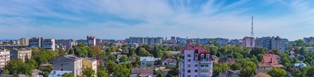 panorama of the city of Ivano-Frankivsk, Ukraine. Clear blue sky with white clouds over the city