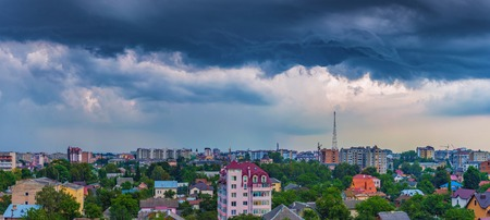 dramatic clouds over the city of Ivano-Frankivsk, Ukraine