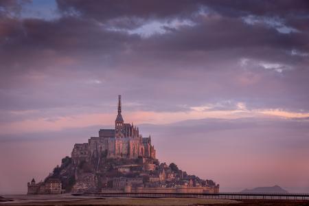 mont saint michel: purple mont saint michel Editorial