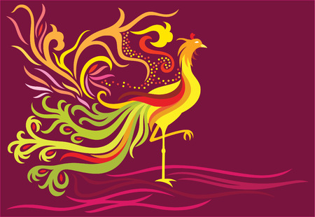 asian: a decorative phoenix with feather flowing high and in flame facing the right side.
