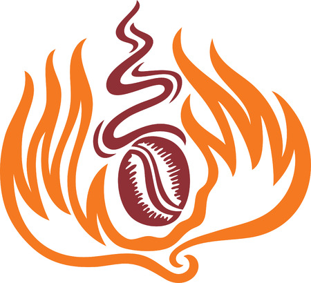 a symbol of a coffee in flame and had a good smell. Vector