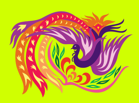 lady bird: a decorative oriental phoenix flowing surrounding a flower