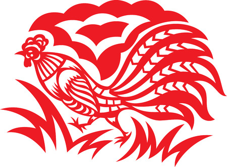 china wall: An oriental decorative paper cut of a rooster