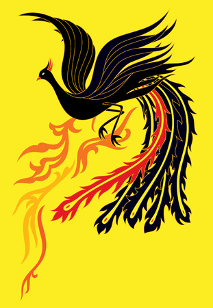 china wall: a black phoenix flapping it�s wings flying up to the sky