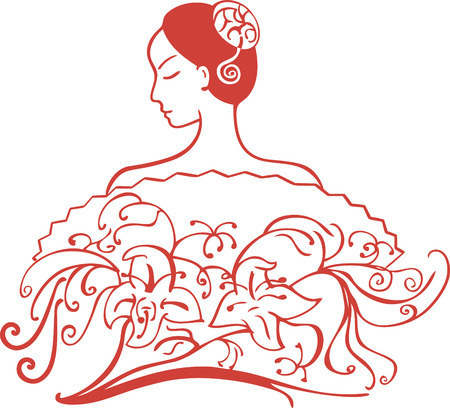 open fan: an oriental lady with open shoulder and tied hair behind a fan with decorative flowers Illustration
