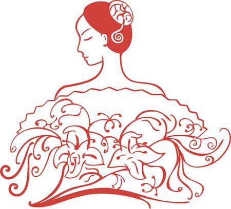 tied hair: uno orientali signora spalla e aperto con i capelli legati dietro un ventilatore con fiori decorativi Vettoriali