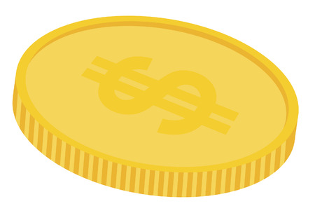 a gold coin with dollar sign on top