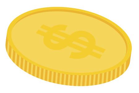 piece d or: une pi�ce d'or avec le signe dollar en haut Illustration