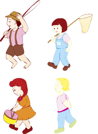 basket embroidery: four kids walking with out fit for a day out