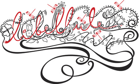 wording: decorative wording with flowers, leafs, dragonflies and loves flowing around