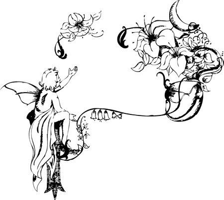 flower bed: One wing angel sitting with hand rised and a decorative flowers beside it. Illustration