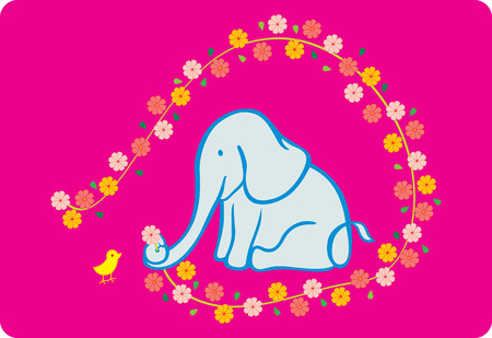 printing logo: an elephant giving a flower to a chick