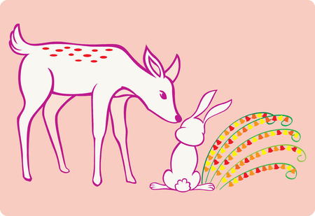 a deer touching a rabbit chic with flowers growing beside it. Vector