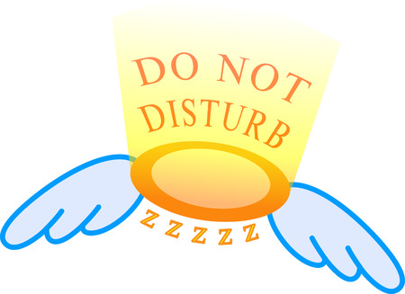 "an angel ring with wings and light stating ""Do not disturb"" above the ring and the ""zzzz"" under the ring."