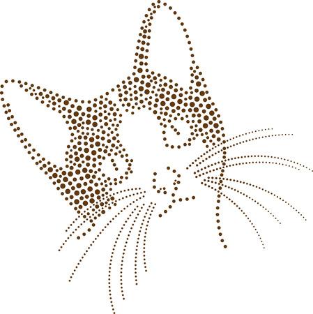 rhinestones outline dots of a cat head Vector