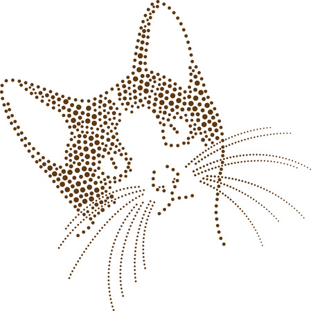 rhinestones outline dots of a cat head