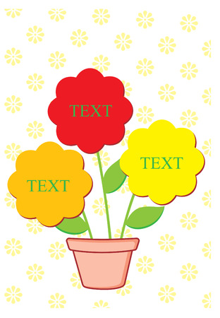 three flowers for text inside a pot with small organized flowers pattern as background Vector