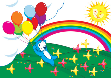 a penguin holding a bunch of balloons flying high up above the ground with birds passing by, sun shine and rainbow. Vector