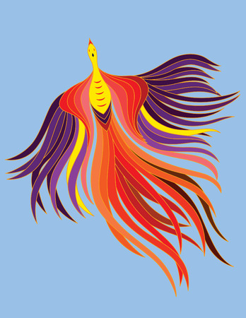a decorative phoenix with beautiful flowing feather.
