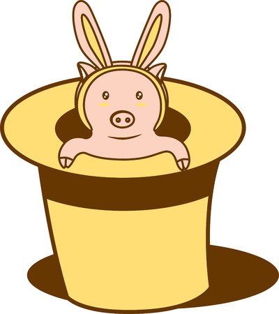 A pig inside a magic hat wearing a rabbit shape accessory  Vector