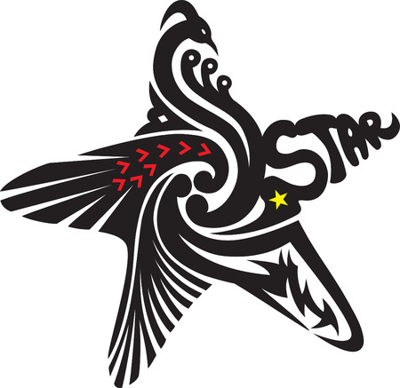 "a decorative star shape with an image of a bird head and a word ""star"""